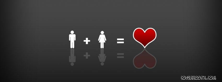 Boy And Girls Equals Love Gray Background With Reflection Red Heart