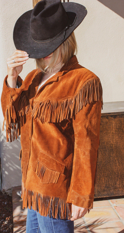 4278415de Vintage Fringe Leather Jacket Womens Fringe Suede Leather Jacket ...
