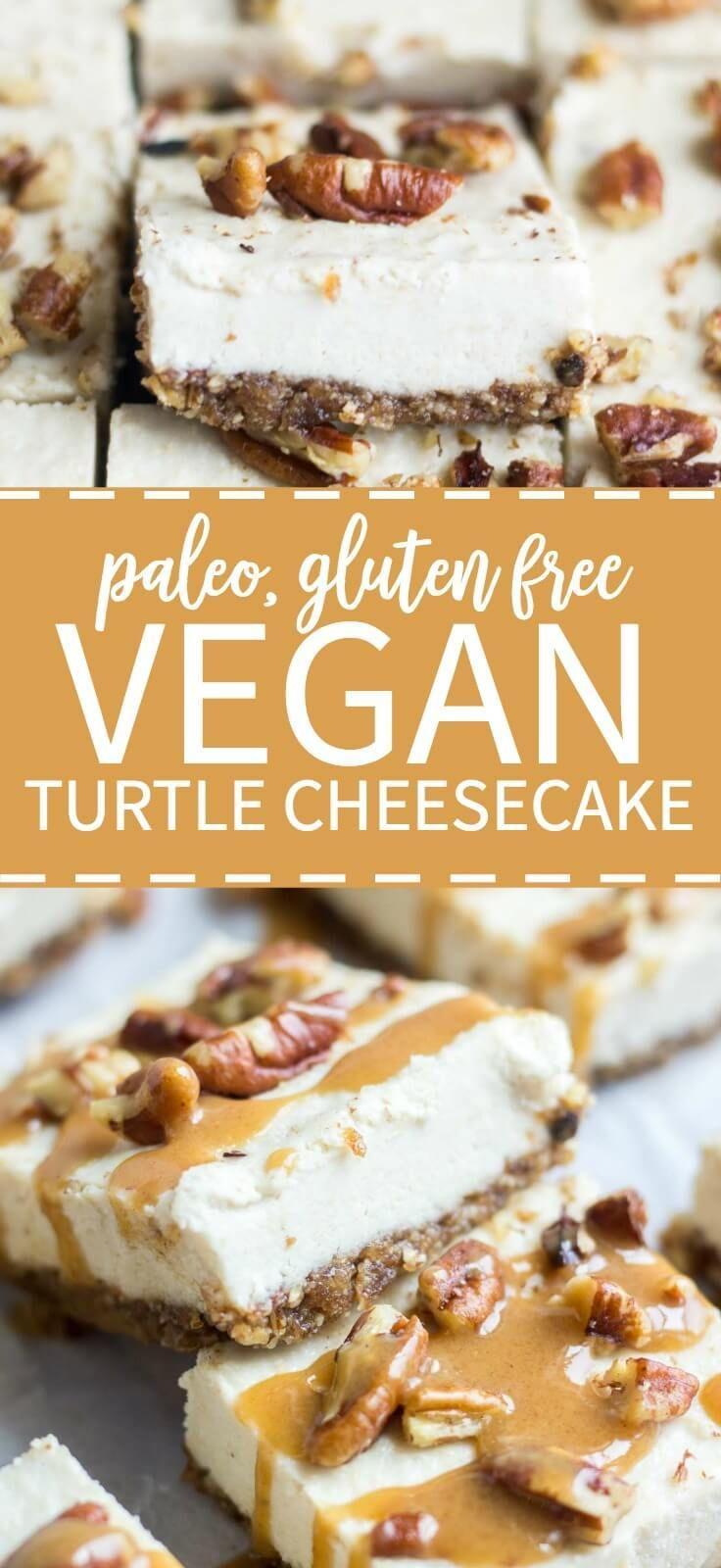 Vegan Turtle Cheesecake Bars Recipe Vegan Cheesecake Dessert