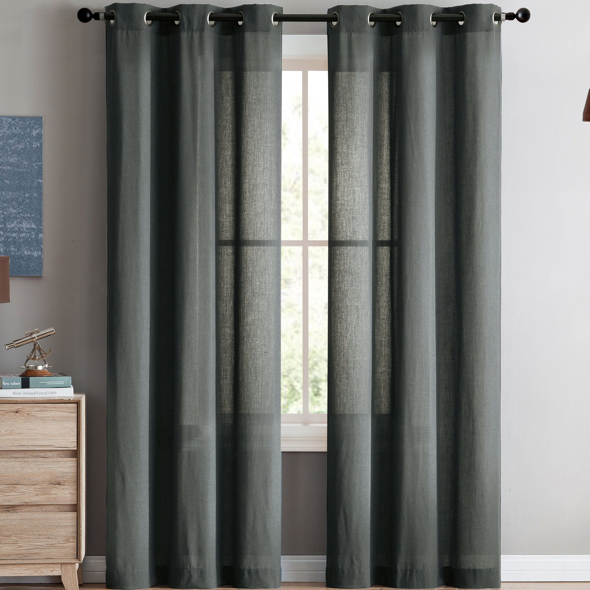 0c222425c2d3 Yanis Solid Semi-Sheer Grommet Curtain Panels | Products | Curtains ...