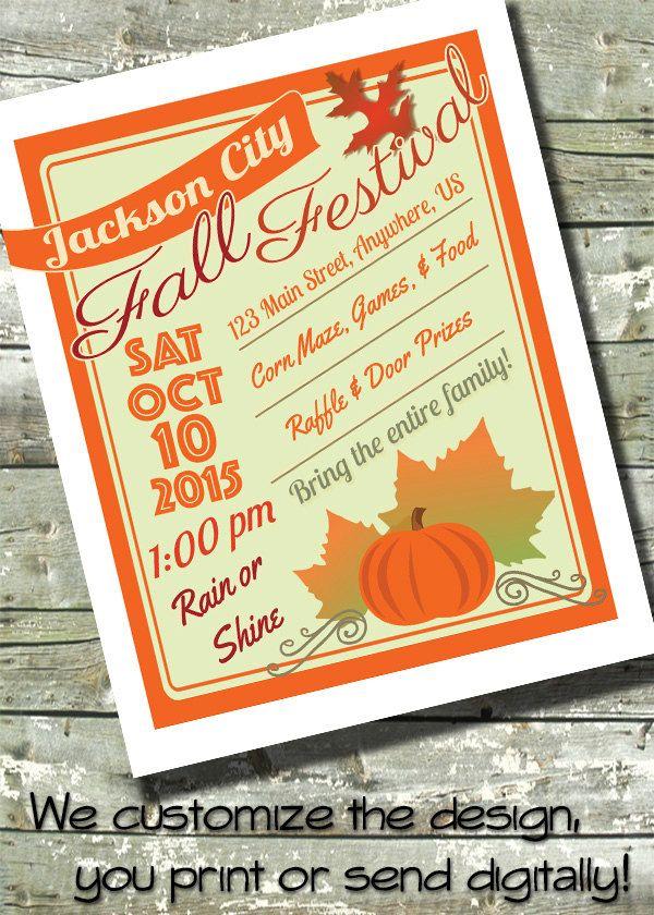fall harvest festival invitation 85x11 flyer community event poster 5x7 invite by ditditdigital on etsy