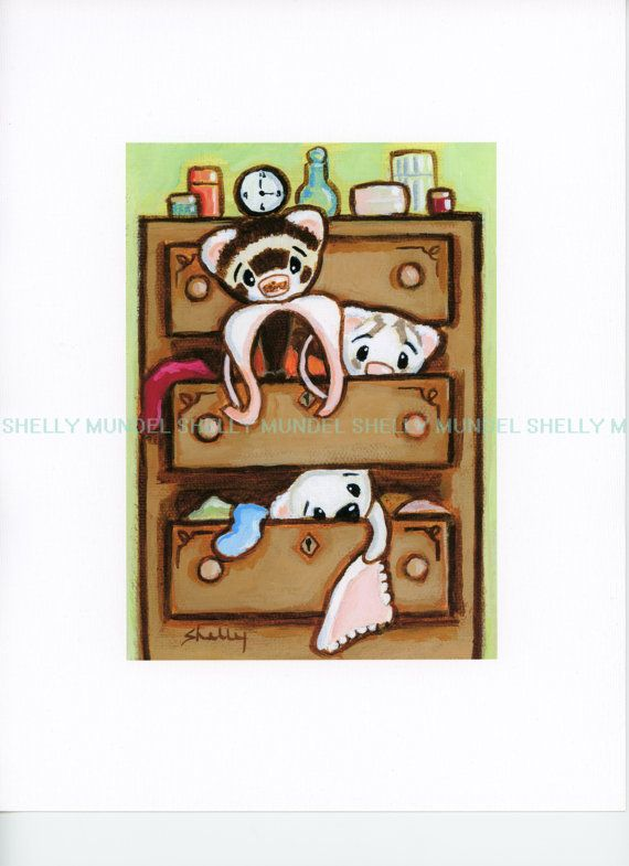 Art by Shelly Mundel. Ferret People Collection  by Feretmans, $20.00