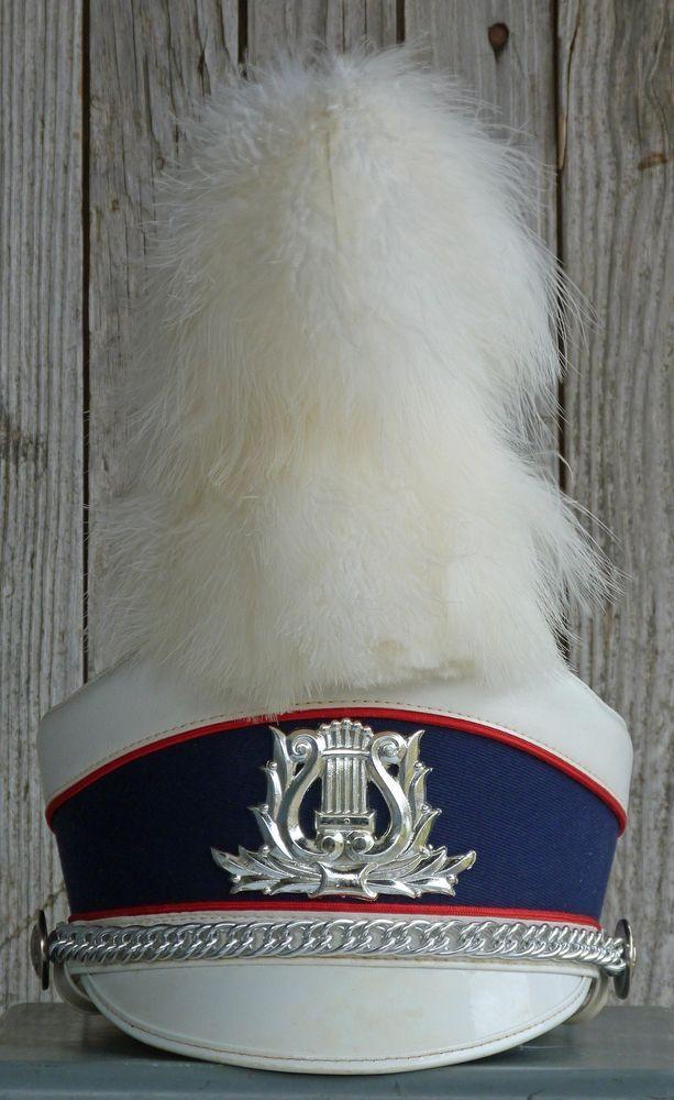 Vintage Marching Band Drum Major Hat White Plume Majorette High School Medium