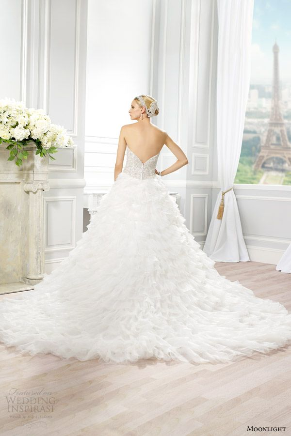 moonlight couture wedding dress spring 2015 style h1277 strapless ball gown beaded bodice full organza skirt back view train
