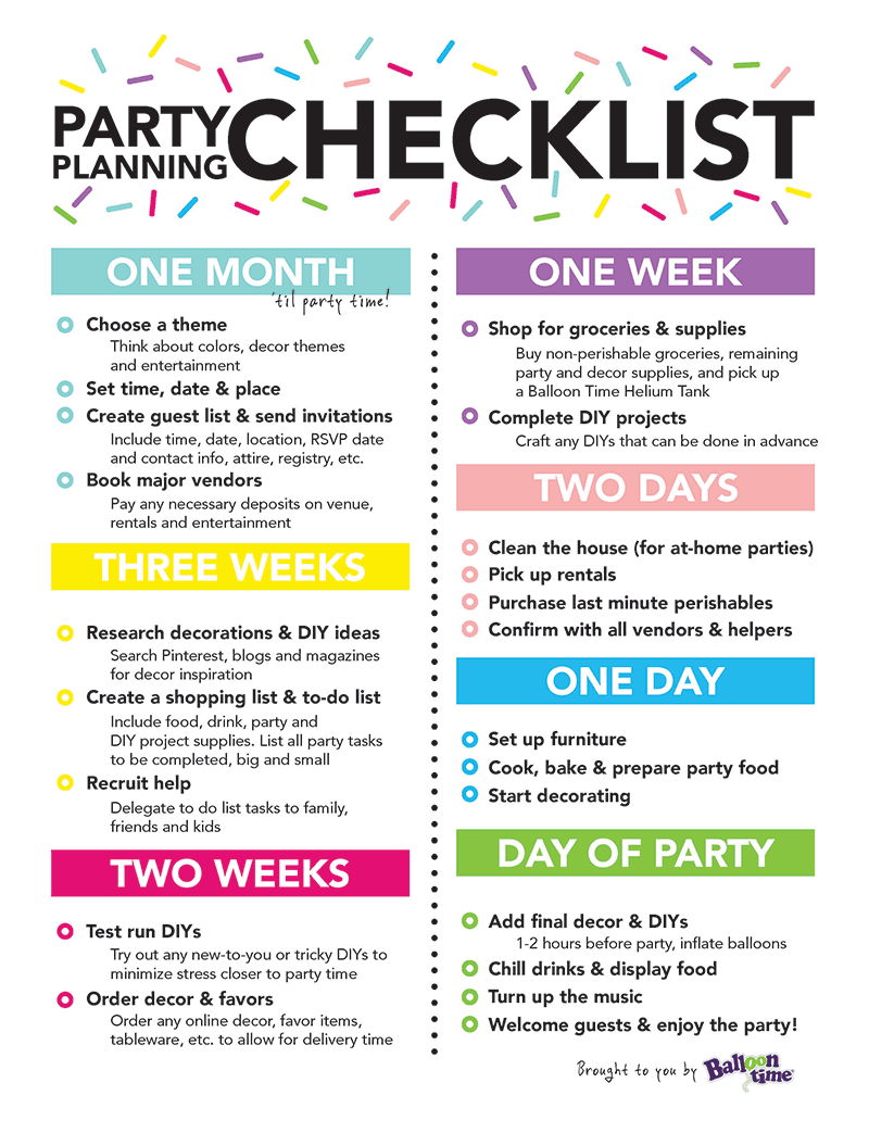 Party Planning Checklist | Balloon Time | Retirement Party ideas ...