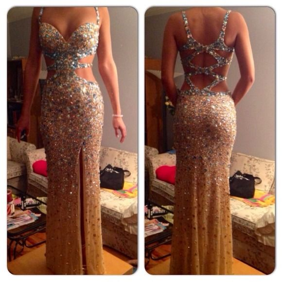 Sexy Revealing Prom Dress Nude/Turquoise. Size 00. Bust ...