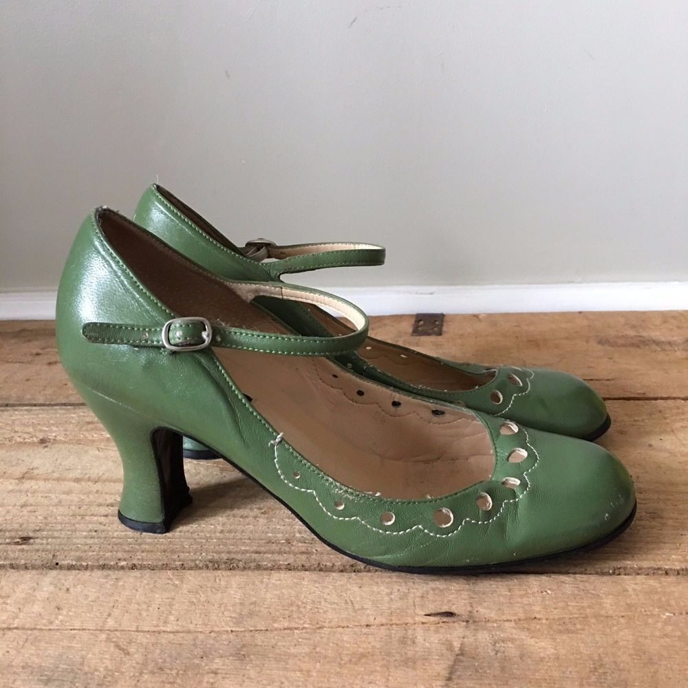 green & white mary jane shoes