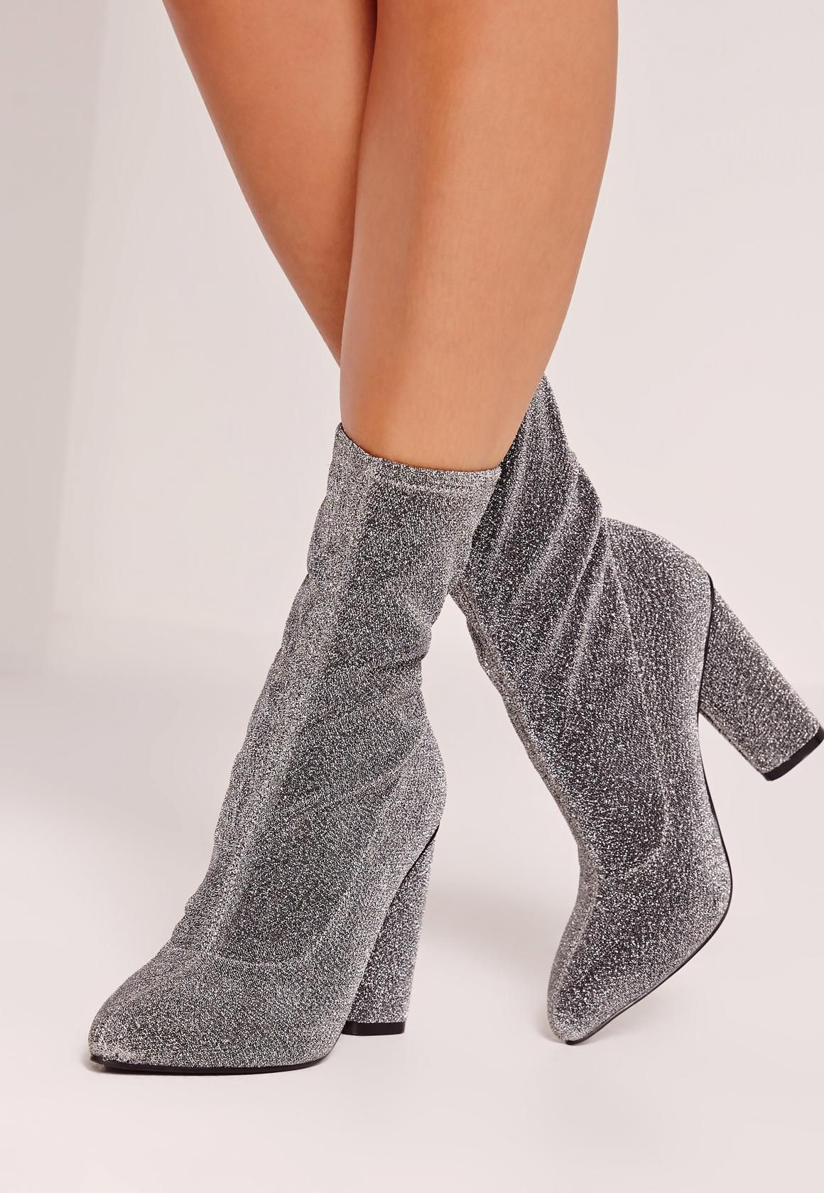 Women's Elastic Glitter Knitted Ankle Boots Pump Block Mid Heel Pointy Short Sock Martin Booties