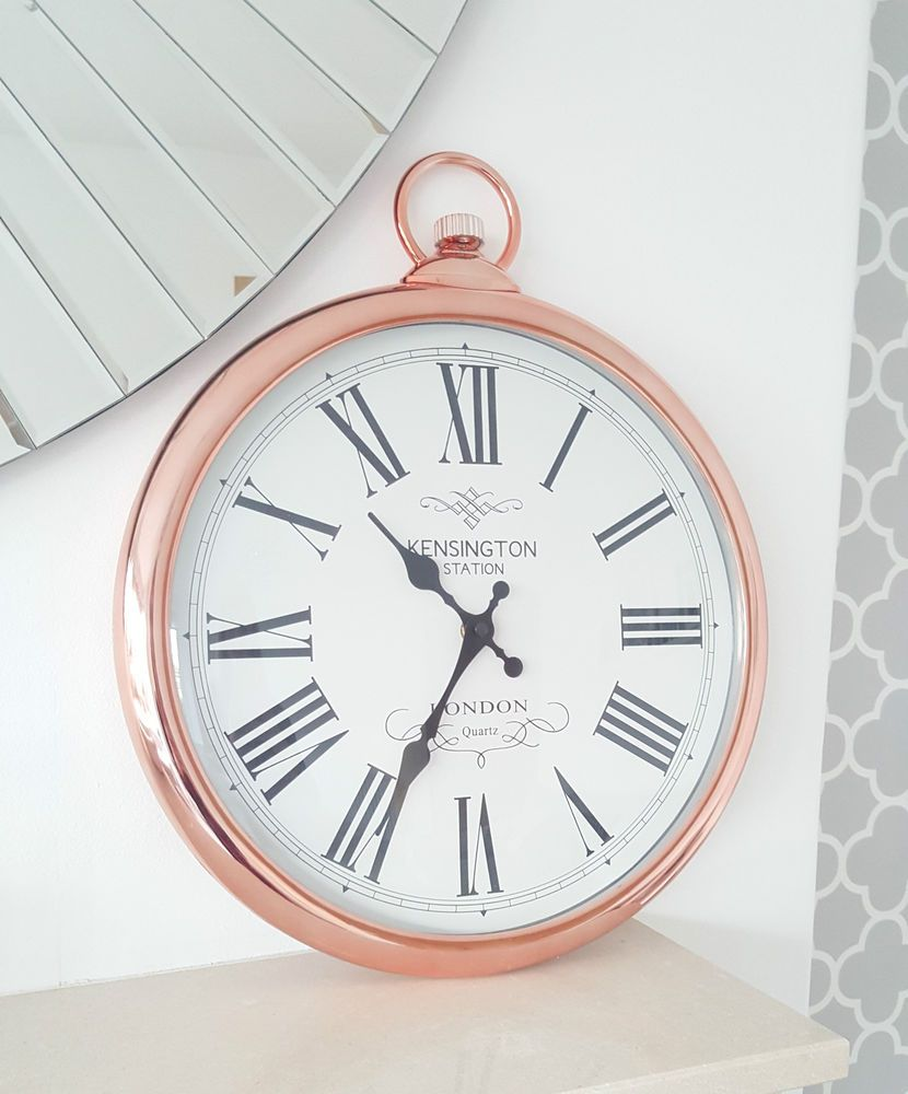 Large Round Copper Wall Clock Pocket Watch Style Kensington London
