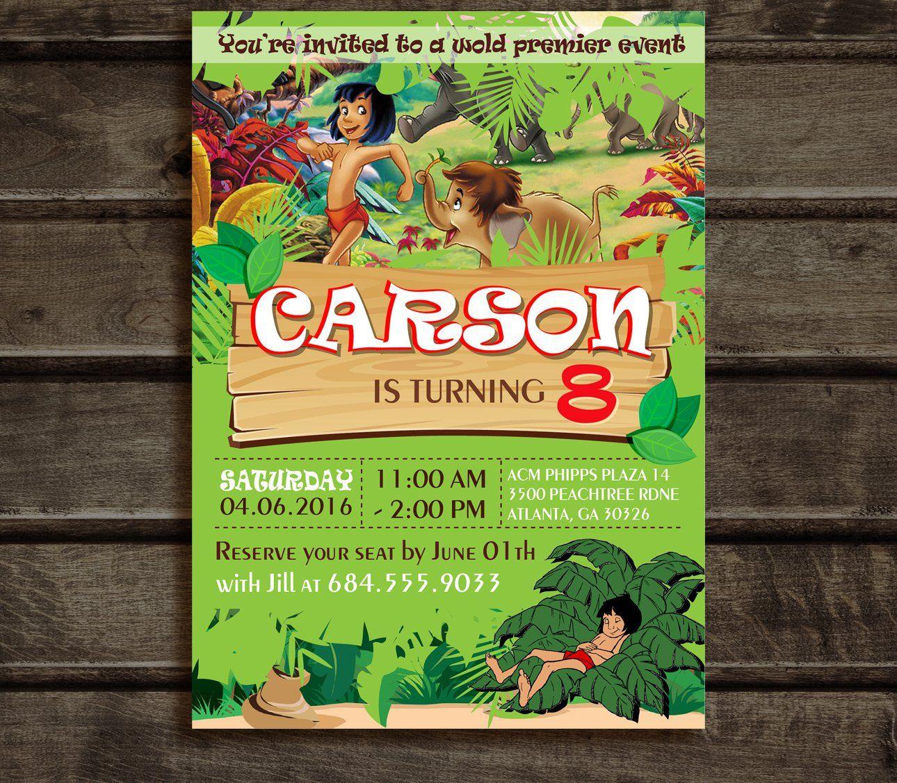 Jungle Book Invitation, Jungle Book Birthday Party Invitation