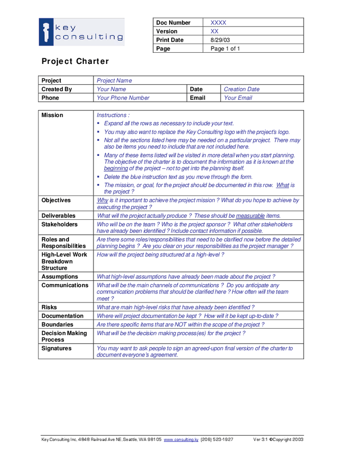 Project management charter template project charter for Charter school budget template