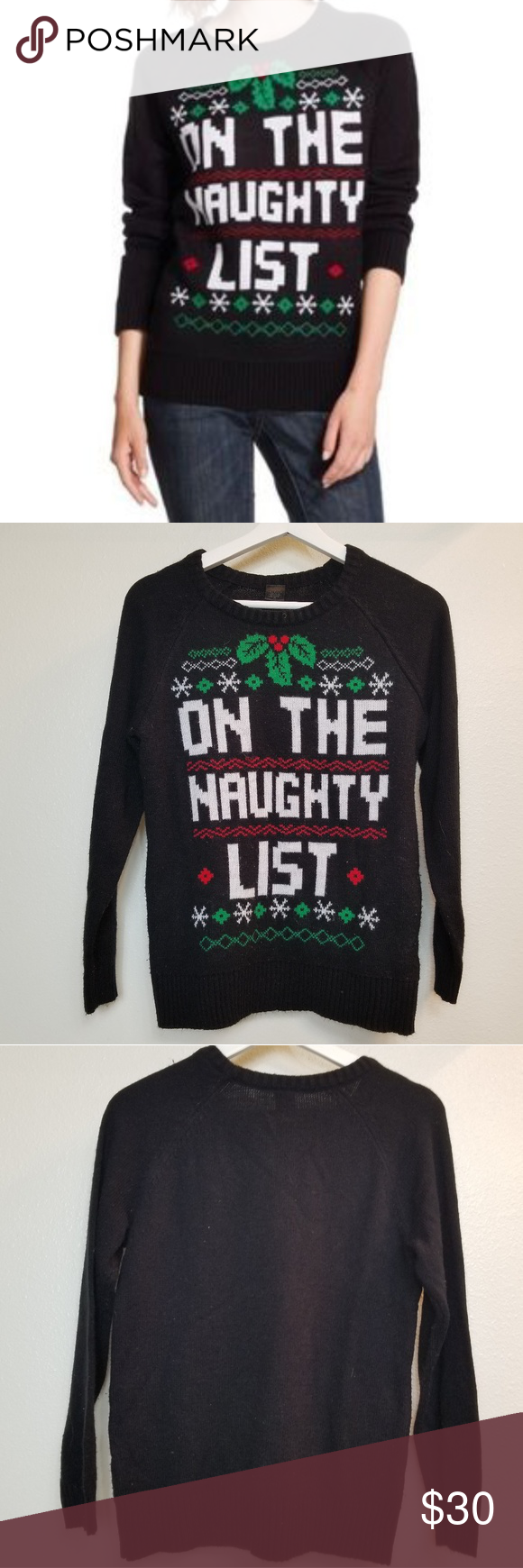 0b2ebe9b1dbc LOL Vintage Christmas Sweater On the naughty list!! Tag has been removed  but its 100% acrylic. In excellent condition. L.O.L. Vintage Sweaters