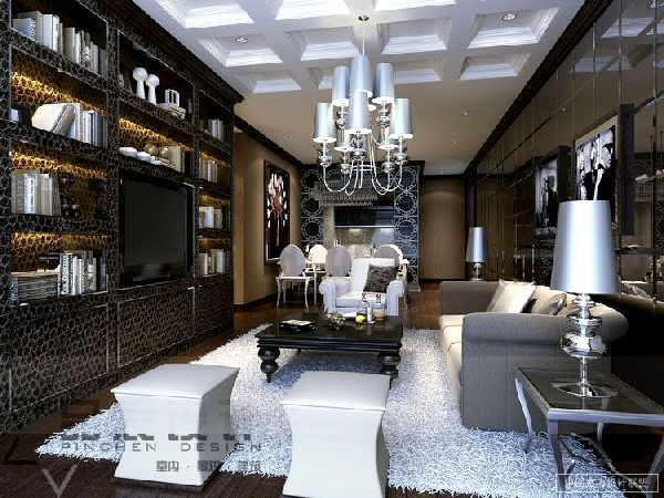 Glamorous And Luxury Livingroom With Shelving Storage Chandelier Awesome Luxury Living Room Design Inspiration