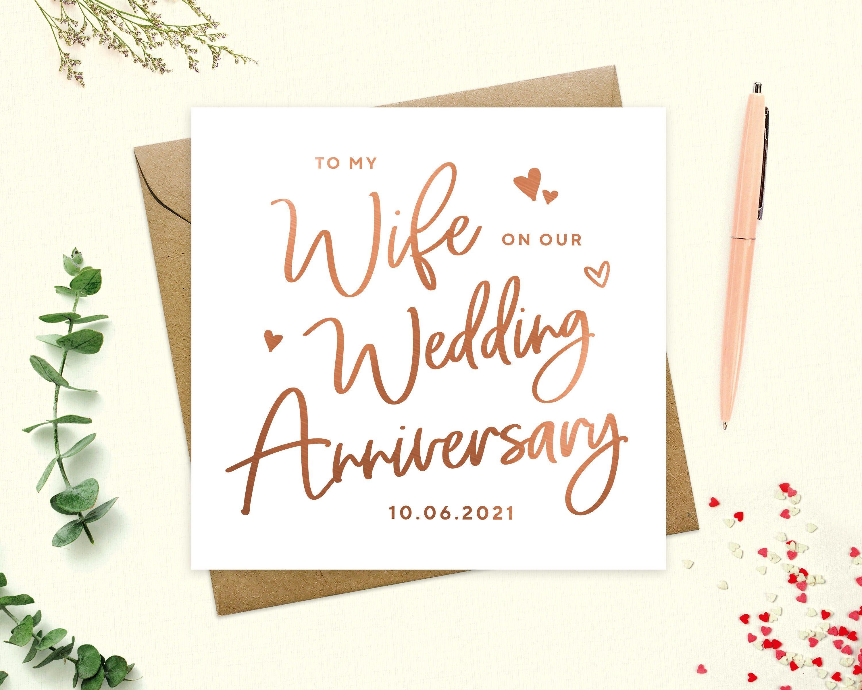 Anniversary Card Wife Wedding Anniversary Card Personalised Etsy Wedding Anniversary Cards Anniversary Cards Fiance Card