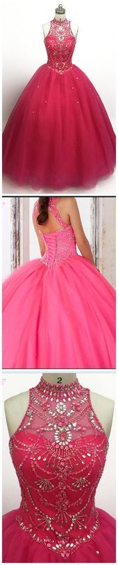 Pink Crystal Beaded Quinceanera Gowns Dresses Ball Gown Sweetheart Tulle Lace-up Sweet#design #model #dress #shoes #heels #styles #outfit #purse #jewelry #shopping #glam #love #amazing #style #swag