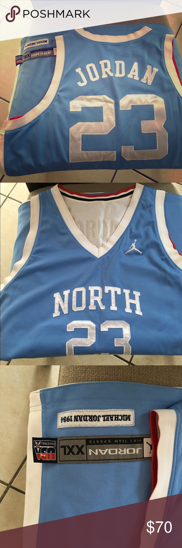 efe11cb630d3 Michael Jordan UNC  USA Reversible Jersey RARE!!!!!!!! Mint Jersey. Hardly  worn. Throw back Jordan Jersey. Size XXL. Make me an offer. Great Jersey  for the ...