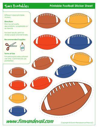 Printable Football Shapes / Football Templates Printable Sticker