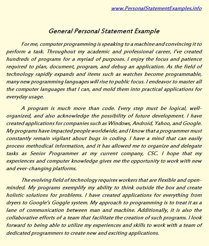 General Personal Statement Examples For You Http://Www