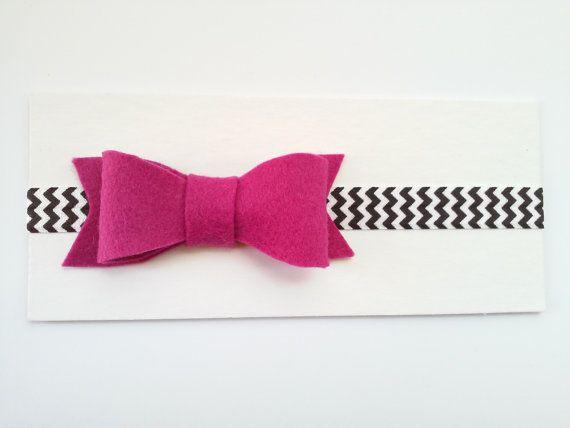 Pink bow headband felt bow headband rose petal bow by GabeAndJuju