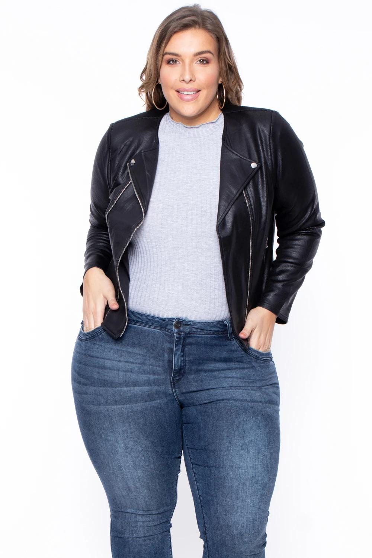 Plus Size Harper Faux Leather Moto Jacket Black Curvy