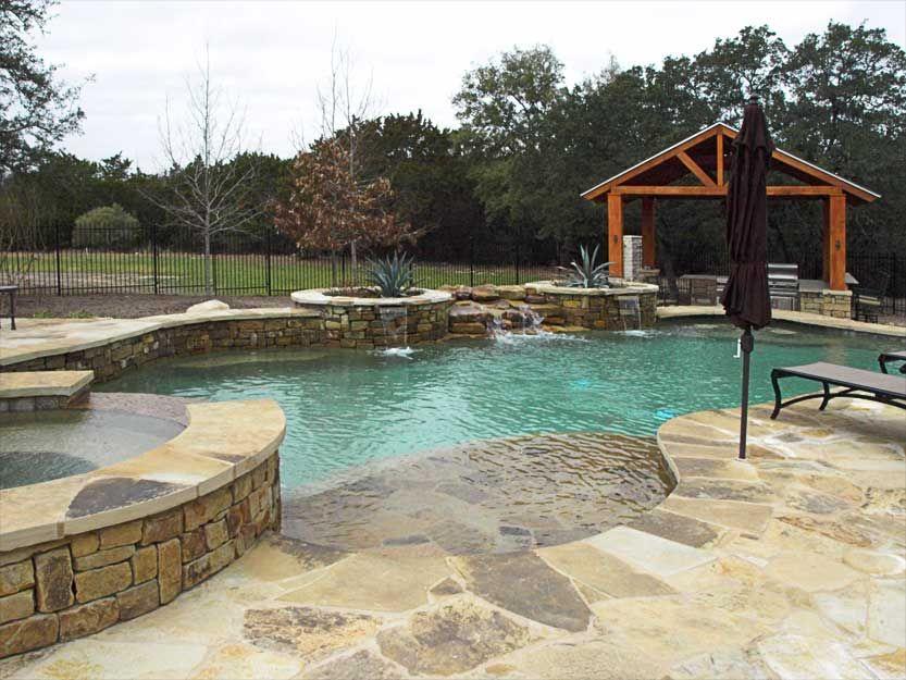 Austin Custom Pool Photo Gallery San Antonio Tx Texas Pools Patios Freeform Pool With Spa Sun Shelf Rock Water Pool Photos Custom Pools Freeform Pools