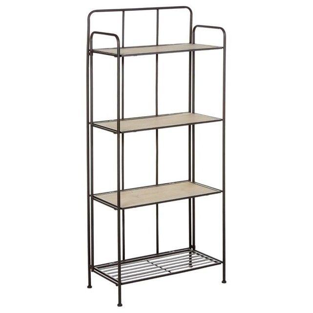 Etagère en métal gris 4 étages dont 3 avec plateau bois 60,5x30xH137