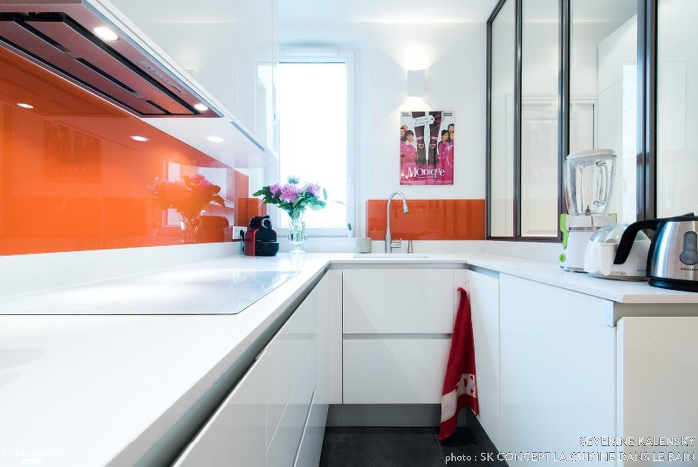 Aménagement cuisine en u design italien finition laque blanc brillant séverine kalensky côté maison
