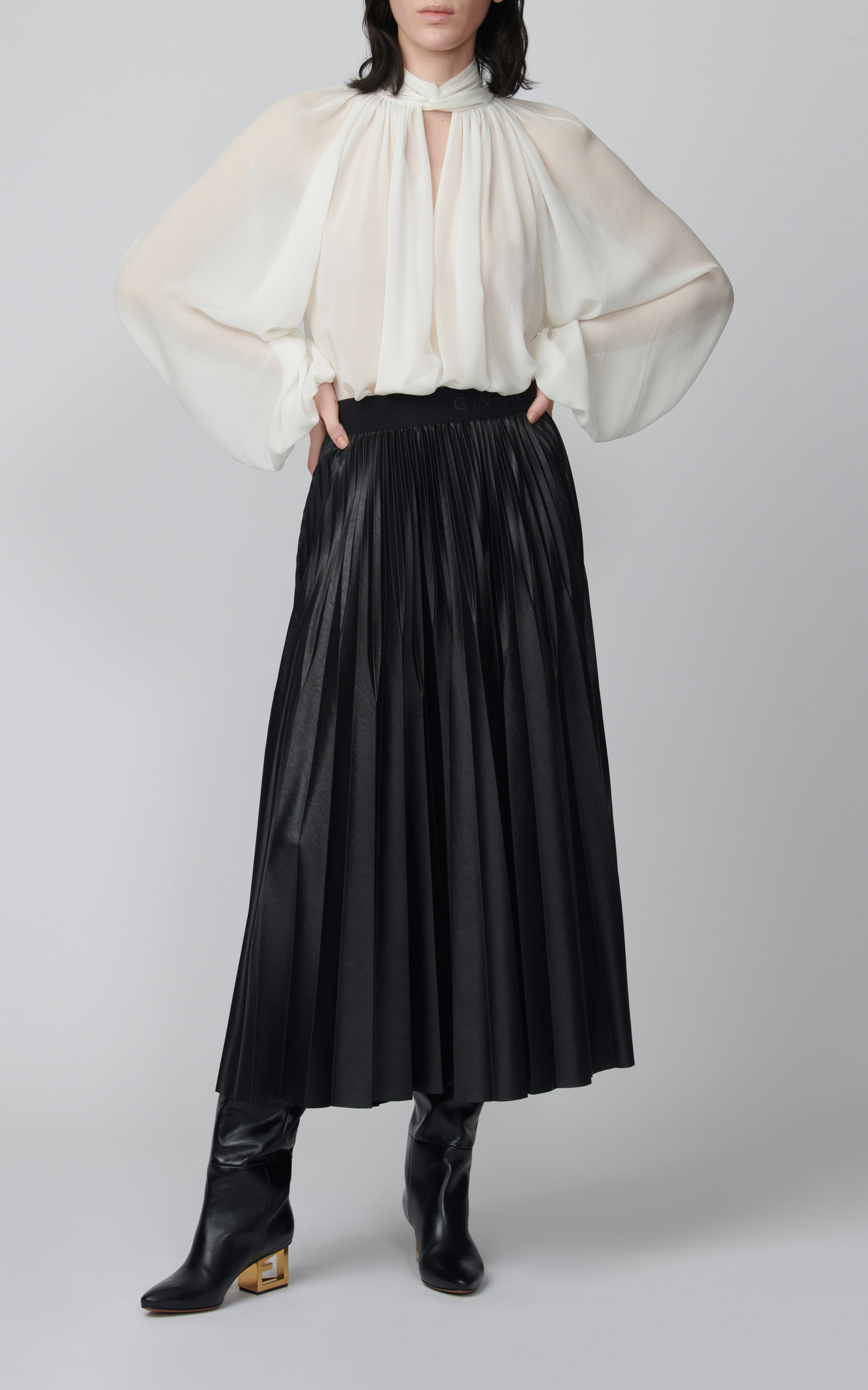 Givenchy pleated jersey midi skirt midi skirt outfit