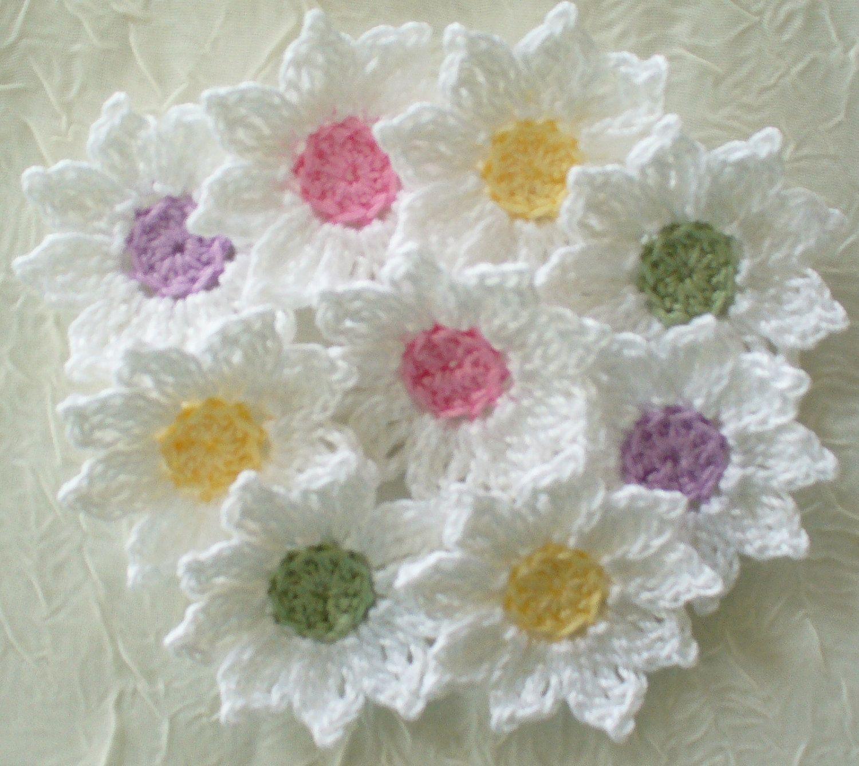 12 algodón hecho a mano hilo crochet Margarita Flores. Los pétalos ...