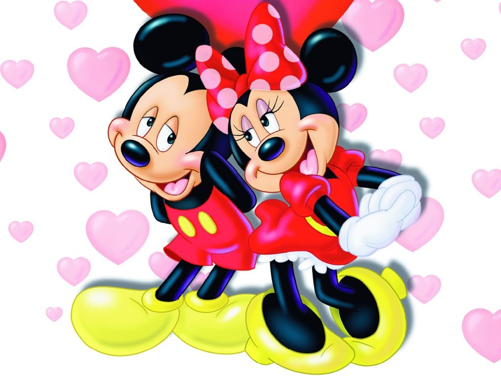 mickey and minnie mouse saying happy valentines day - Valentines Day Disney