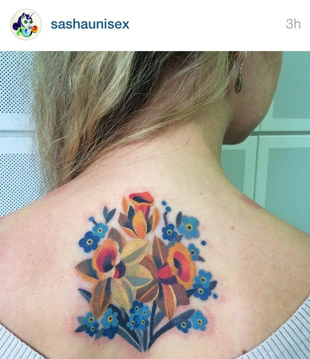 Watercolor modern daffodils and forget me nots tattoo ...