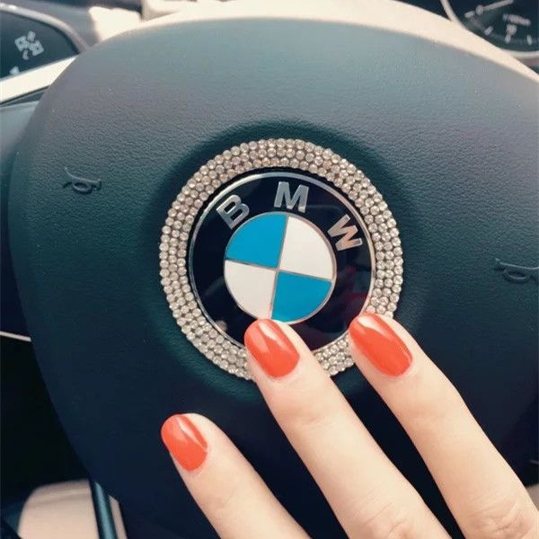 Steering Wheel Bling Crystal Emblem Shiny Accessories Parts Logo Sticker Badge Decals Covers Interior Decorations Fit BMW