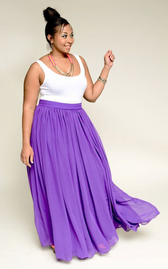 Empress Sheer Maxi Skirt - Purple (Plus) by Youtheary Khmer | Plush ...
