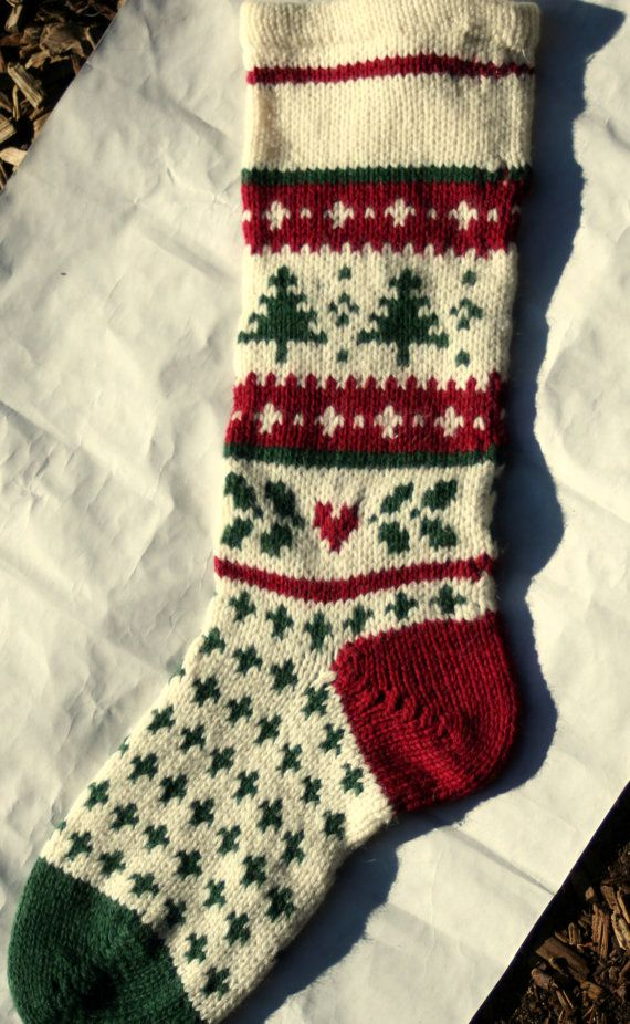 Handknit Christmas stocking. I love traditional old ...