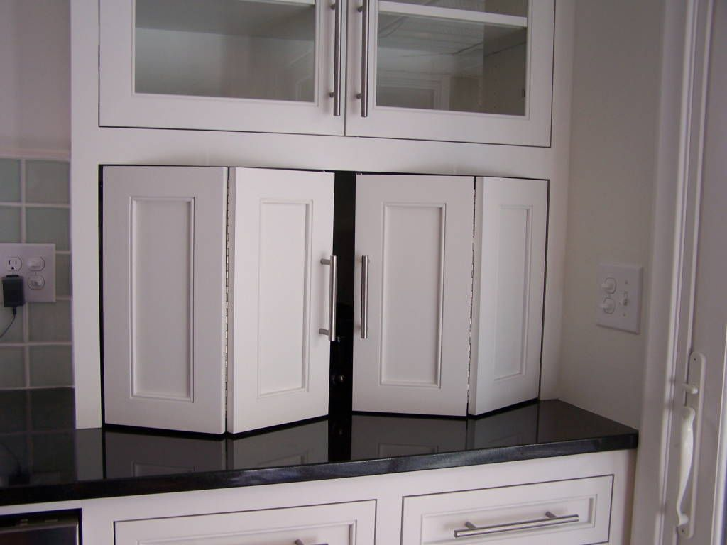 Recycle bifold doors doors appliance lift double wide for Black kitchen cabinet doors