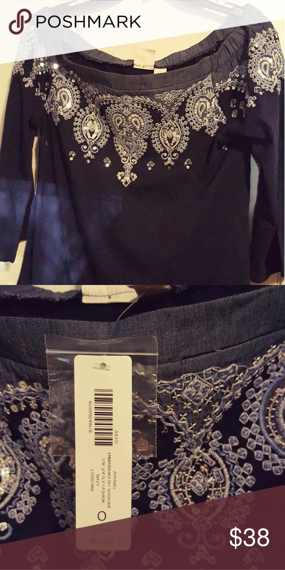 aa6c3d1901b73 Navy off sholder top Brand new with tags Navy off shoulder beautiful  embroidered Top by Chinos SIZE small  38 Chico s Tops Blouses