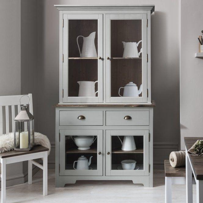 Dark Wood Welsh Dresser: Canterbury Dresser Top In Silk Grey And Dark Pine