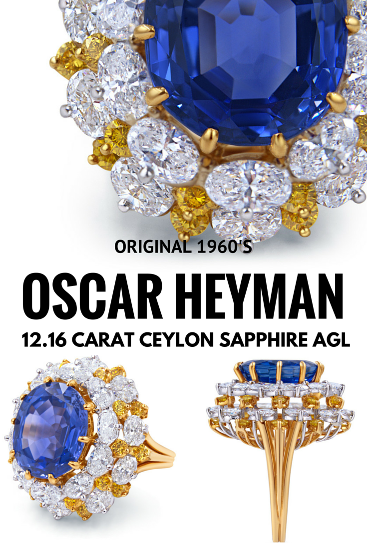 Vintage Sapphire Cluster Ring Oscar Hayman 12 Carat Ceylon Sapphire And 4 Carats Of White Yellow Blue Sapphire Jewelry Vintage Sapphire Sapphire Jewelry