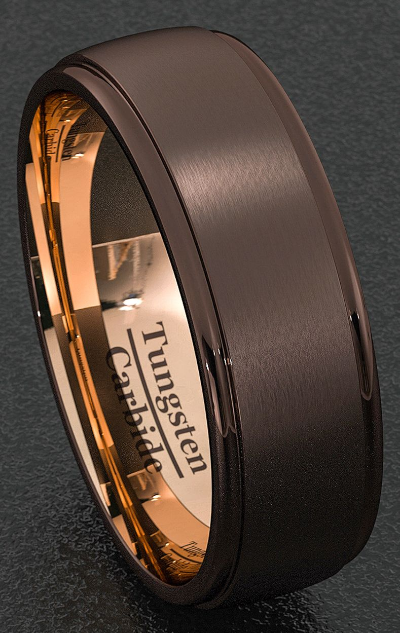 Mens Wedding Band Special Espresso Collection Tungsten Ring 8mm