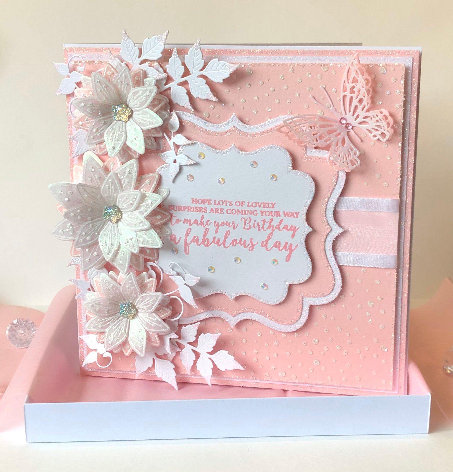 Luxury Handmade Pink Boxed Birthday Card Etsy Chloes Creative Cards Luxury Birthday Cards Birthday Cards Diy