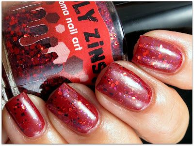Sonoma Nailart-Deadly Zins - a red tinted base with red, plum and black glitter