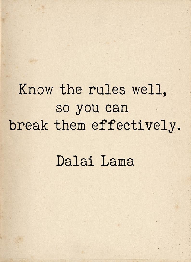 Dalai Lama Quote  Breaking Rules  Rebellious Political Art | Etsy