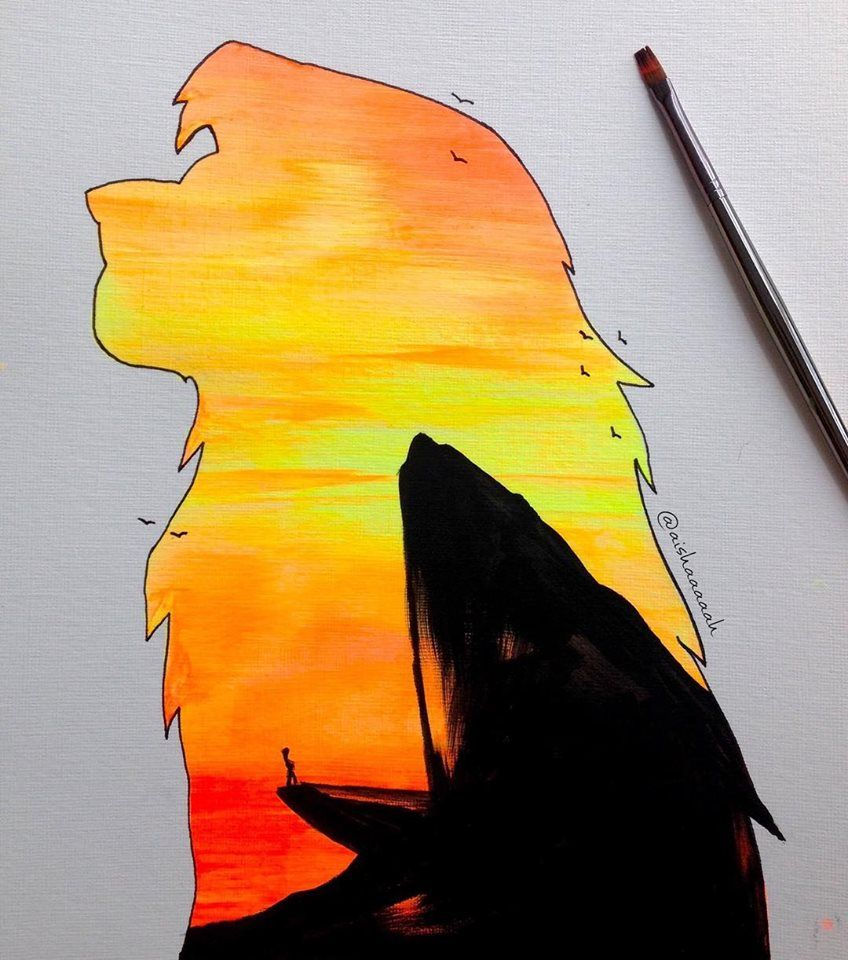 Simba Silhouette With Pride Rock The Lion King Disney Paintings Disney Art Lion King Art