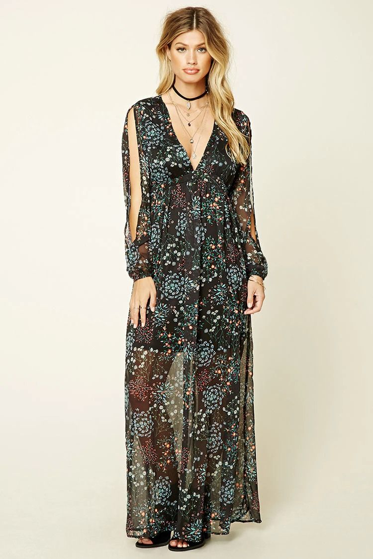 A woven maxi dress by i the wild featuring an allover floral print