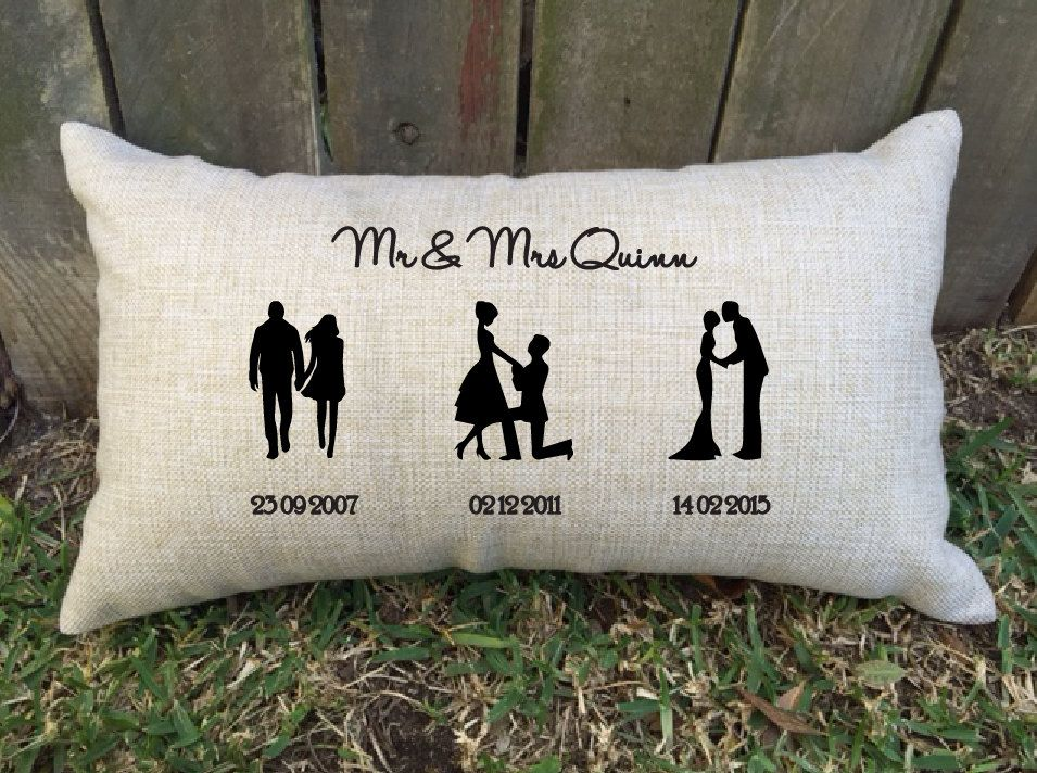 Silhouette Timeline Couples Pillow Perfect For Bridal Shower Cotton