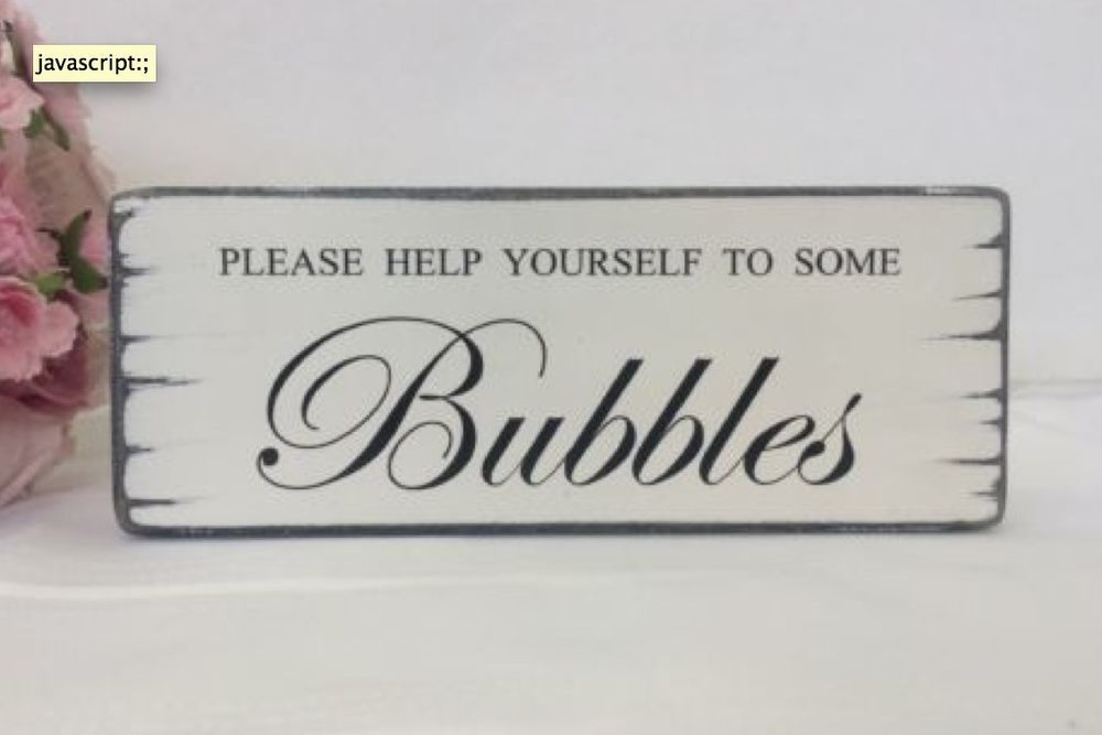 wedding BUBBLES table sign