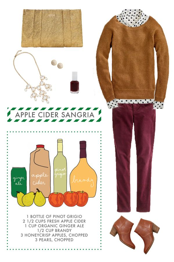 {long distance loving} apple cider sangria. A drink recipe and an outfit. Now that's a win/win!! #applecidersangriarecipe