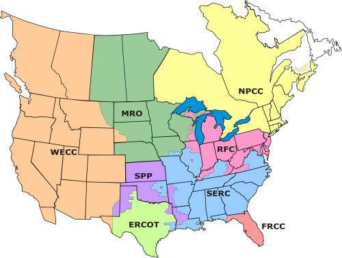 Map of United States of America Electricity Grid - United ...