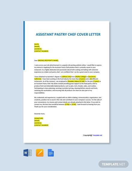 FREE Commis Chef Cover Letter - Word   Google Doc   Apple ...