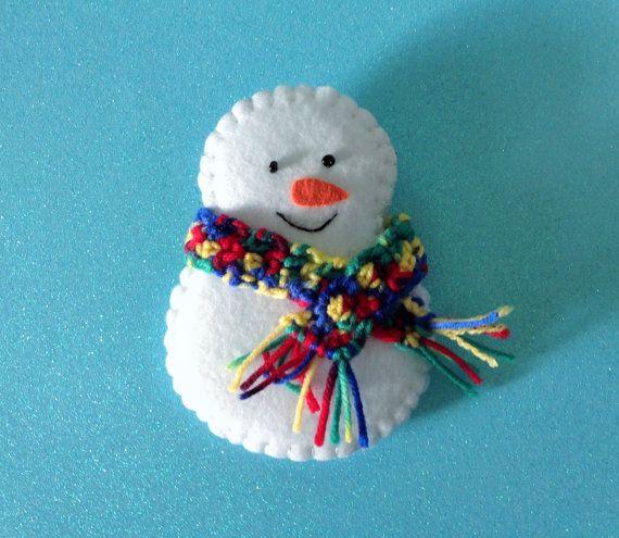 Set of 6 Christmas Snowman Felt Decorations Christmas Crafts